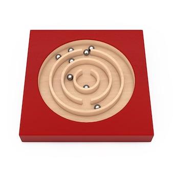 Rotes hölzernes bildungs-labyrinth-labyrinth-spielzeug-spiel für kinder gedächtnis-vorauslernen auf einem weißen hintergrund. 3d-rendering