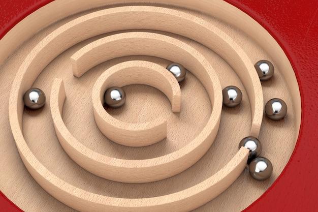 Rotes hölzernes bildungs-labyrinth-labyrinth-spielzeug-spiel für kinder memory advance learning extreme nahaufnahme. 3d-rendering