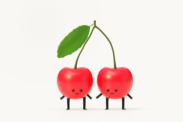 Rotes kirschfruchtkarikatur 3d charakterillustrationsmodell rendern.