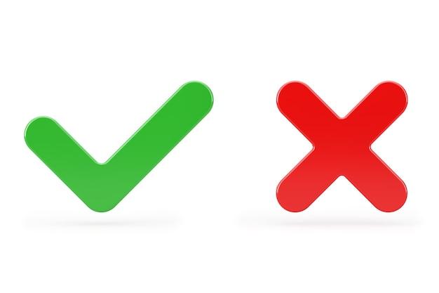 Rotes kreuz und grünes häkchen, bestätigen oder verweigern, ja oder nein-symbol auf weißem hintergrund. 3d-rendering