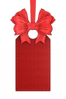 Rotes lederetikett auf weißem hintergrund. isolierte 3d-illustration