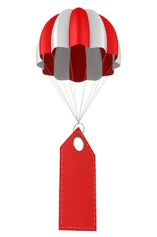 Rotes lederetikett und fallschirm auf weiß
