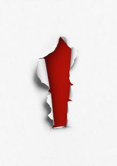 Rotes loch im papierhintergrund