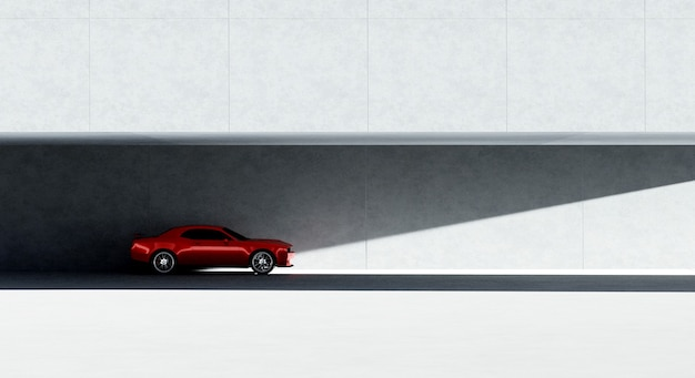 Rotes markenloses sportparkhaus des 3d-renderings am minimalismus-designparkplatz
