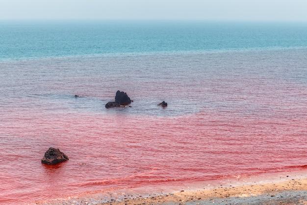 Rotes meerwasser an der küste der insel hormuz, hormozgan, iran.
