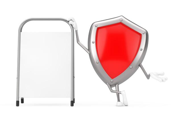 Rotes metallschutz-schild-charakter-maskottchen mit weißem leerem werbungs-förderungs-stand auf einem weißen hintergrund. 3d-rendering