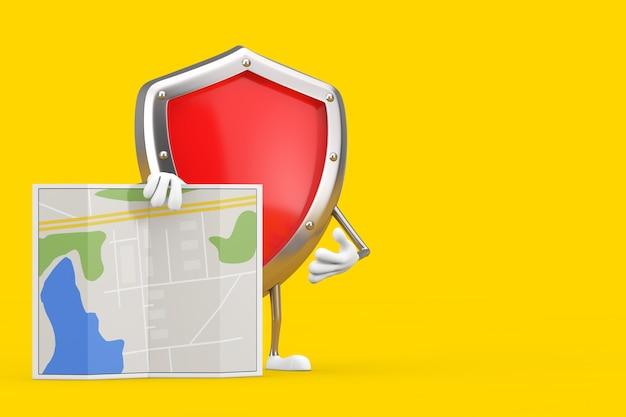 Rotes metallschutzschild-charakter-maskottchen mit abstrakter stadtplan-karte auf einem gelben hintergrund. 3d-rendering