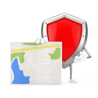 Rotes metallschutzschild-charakter-maskottchen mit abstrakter stadtplan-karte auf einem weißen hintergrund. 3d-rendering
