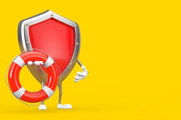 Rotes metallschutzschild-charakter-maskottchen mit rettungsring auf gelbem hintergrund. 3d-rendering