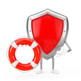 Rotes metallschutzschild-charakter-maskottchen mit rettungsring auf weißem hintergrund. 3d-rendering
