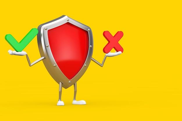 Rotes metallschutzschild-charakter-maskottchen mit rotem kreuz und grünem häkchen, bestätigen oder verweigern, ja oder nein-symbol auf gelbem hintergrund. 3d-rendering