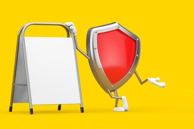 Rotes metallschutzschild-charakter-maskottchen mit weißem leerem werbepromotion-stand auf einem gelben hintergrund. 3d-rendering