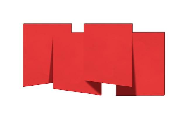 Rotes papier auf weißem