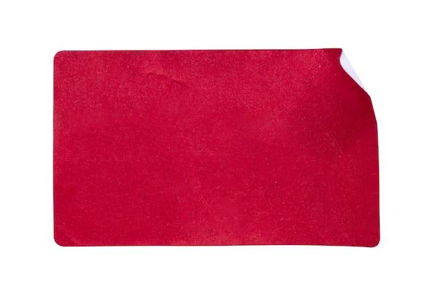 Rotes papieraufkleberetikett lokalisiert auf weißem hintergrund