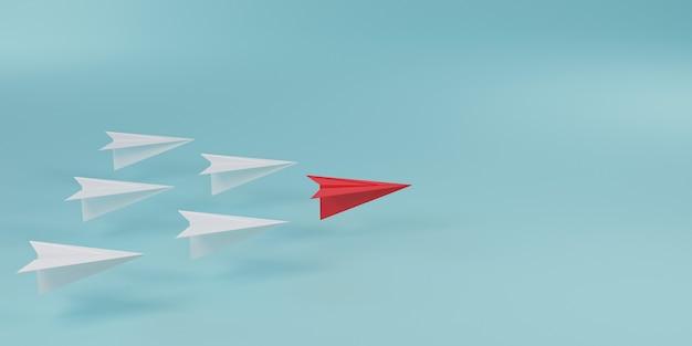 Rotes papierflugzeug vor weißem papierflugzeug auf blauem hintergrund für führungskonzept durch 3d-rendering.