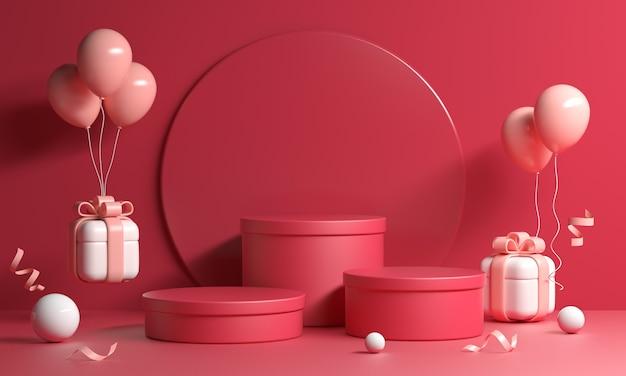 Rotes podestset mit geschenkboxen und luftballons