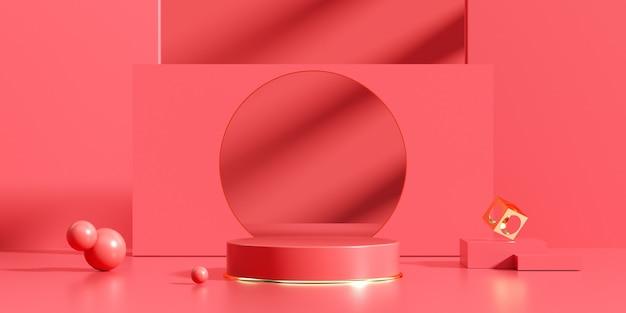Rotes podium des 3d-renderings für produktanzeige