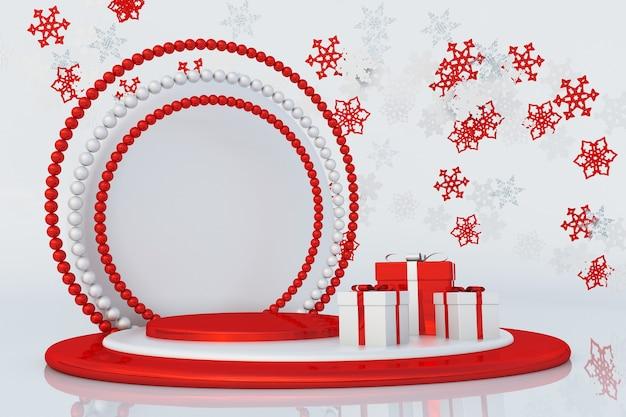 Rotes podium des neuen jahres 3d mit fliegenden schneeflocken und geschenkboxen für grußkartenplakatbanner