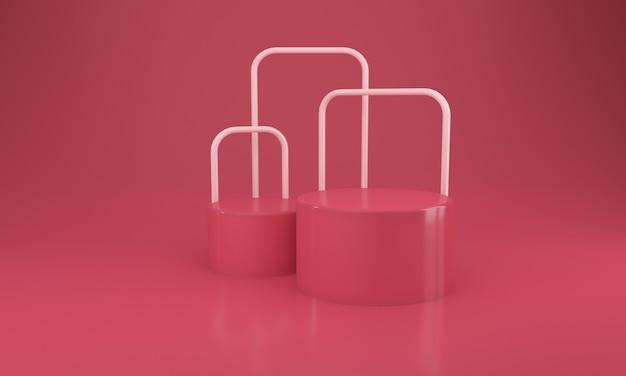Rotes podium-design 3d-illustrationsdesign mit rohrleitungen