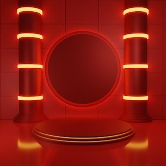 Rotes podium mit neon