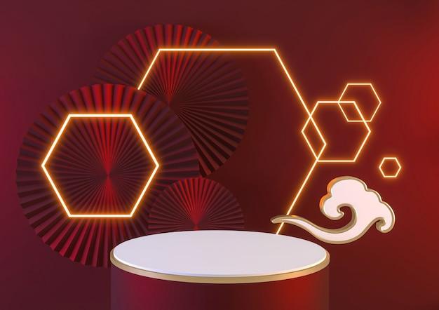 Rotes podium und neonlicht zeigen das geometrische 3d-rendering des kosmetischen produkts