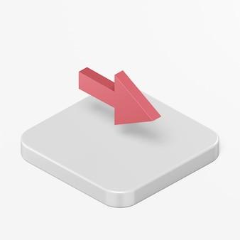 Rotes rechtspfeilsymbol im ui ux-element der 3d-rendering-schnittstelle