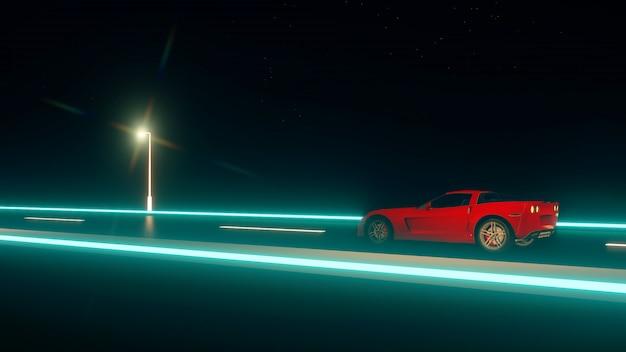 Rotes schnelles auto, das nachts mit hoher geschwindigkeit auf der straße läuft