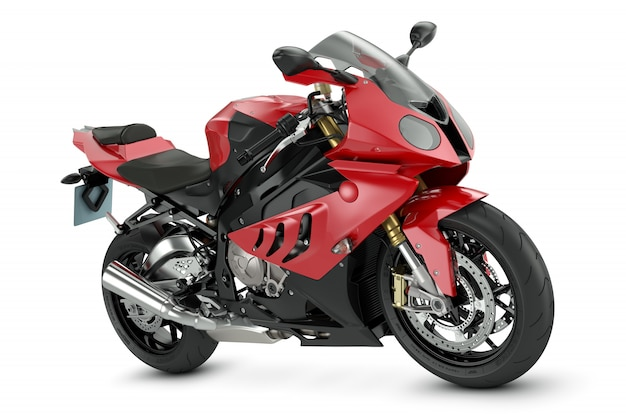 Rotes sportmotorrad.