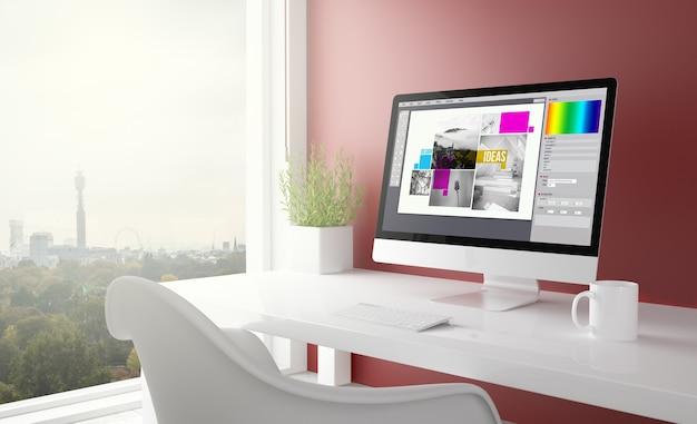 Rotes studio mit grafikdesign-computer mit londoner skyline. 3d-rendering.