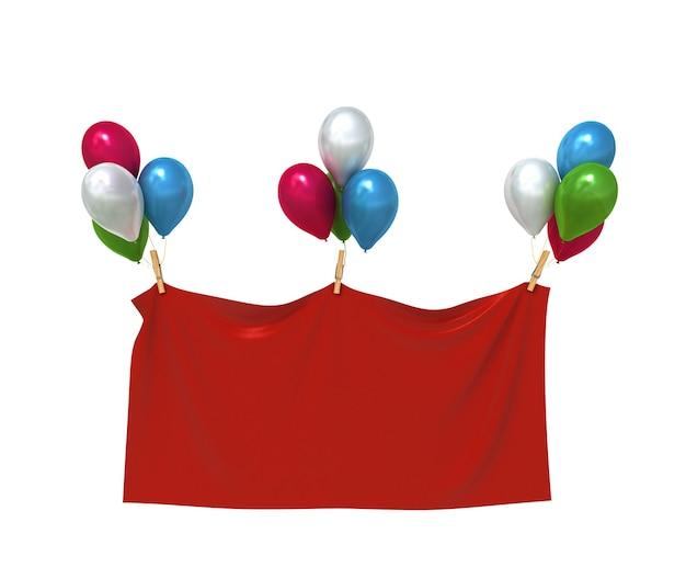 Rotes textilbanner mit herzballons
