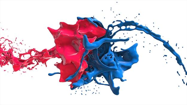 Rotes und blaues abstraktes flüssiges gesicht im spritzer lokalisiert auf weißer hintergrund 3d illustration