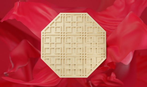 Rotes und goldenes chinesisches hintergrund-3d-rendering