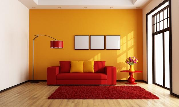 Rotes und orangefarbenes wohnzimmer
