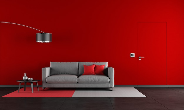Rotes und schwarzes wohnzimmer