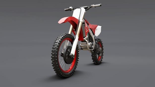Rotes und weißes sportfahrrad für querfeldein auf einem grauen hintergrund. racing sportbike. modernes supercross motocross dirt bike. 3d-rendering.