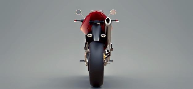 Rotes urbanes sport-zweisitzer-motorrad auf grauem hintergrund. 3d-darstellung.