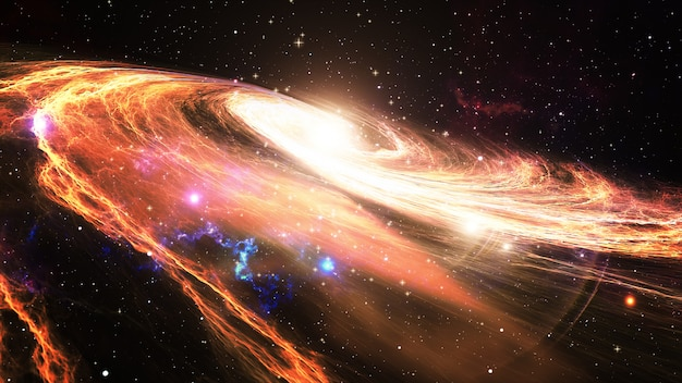 Rotierende spiralgalaxie mit sternen im weltraum 3d illustration