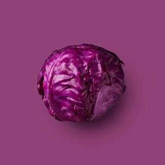 Rotkohlkopf isoliert auf lila hintergrund, gemüse, gesunde ernährung. aus der farbkohl-serie