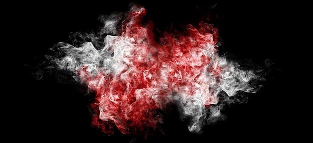 Rotlichtpartikel emittieren auf einem schwarzen hintergrund smog-textur-overlay, das rotes licht und roten rauch emittiert