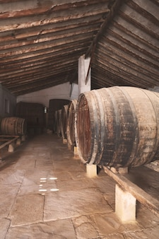 Rotweinfässer gestapelt im alten keller des weinguts in spanien, alicante