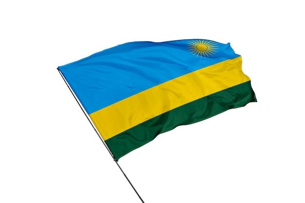 Ruanda-flagge auf weißem hintergrund