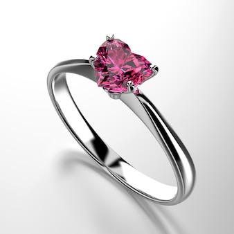 Rubin-diamant-ring der herzform lokalisiert auf weißem hintergrund