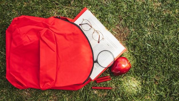 Rucksack mit buch und brille auf gras