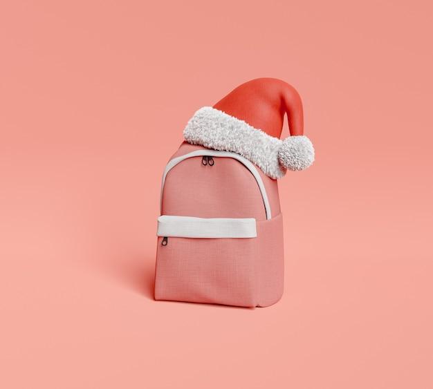 Rucksack mit weihnachtsmütze