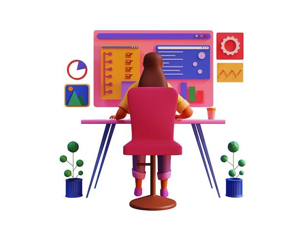 Rückansicht der 3d-geschäftsfrau, die am desktop am arbeitsplatz arbeitet.