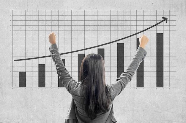 Rückansicht der asiatischen geschäftsfrau, die erhöhtes geschäftsfinanzierungsdiagramm mit wandhintergrund betrachtet
