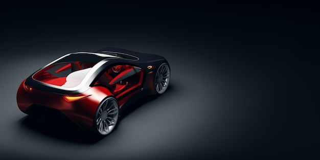 Rückansicht des futuristischen schnellen sportwagens im studiolicht. markenloses konzeptauto. 3d illustraiton