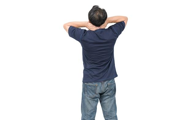 Rückansicht des mannes, der unter nackenschmerzen leidet