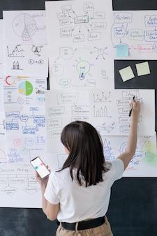 Rückansicht des weiblichen trainers mit smartphone, der auf finanzinformationen auf papieren zeigt, die an der tafel im büro hängen