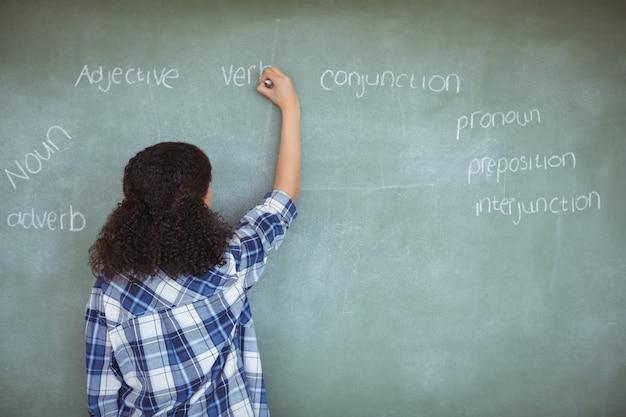 Rückansicht eines schulmädchens, das vorgibt, lehrerin im klassenzimmer zu sein